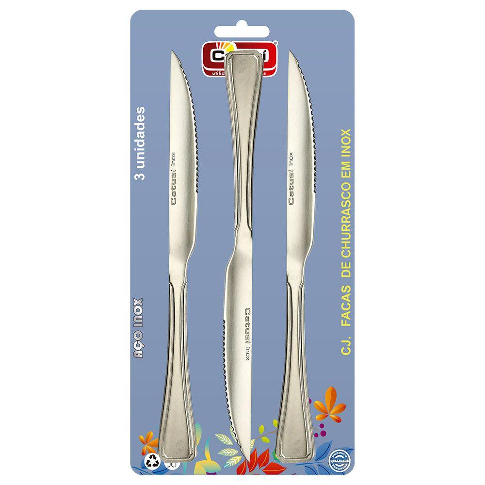 Conjunto c/ 3 facas de churrasco em inox