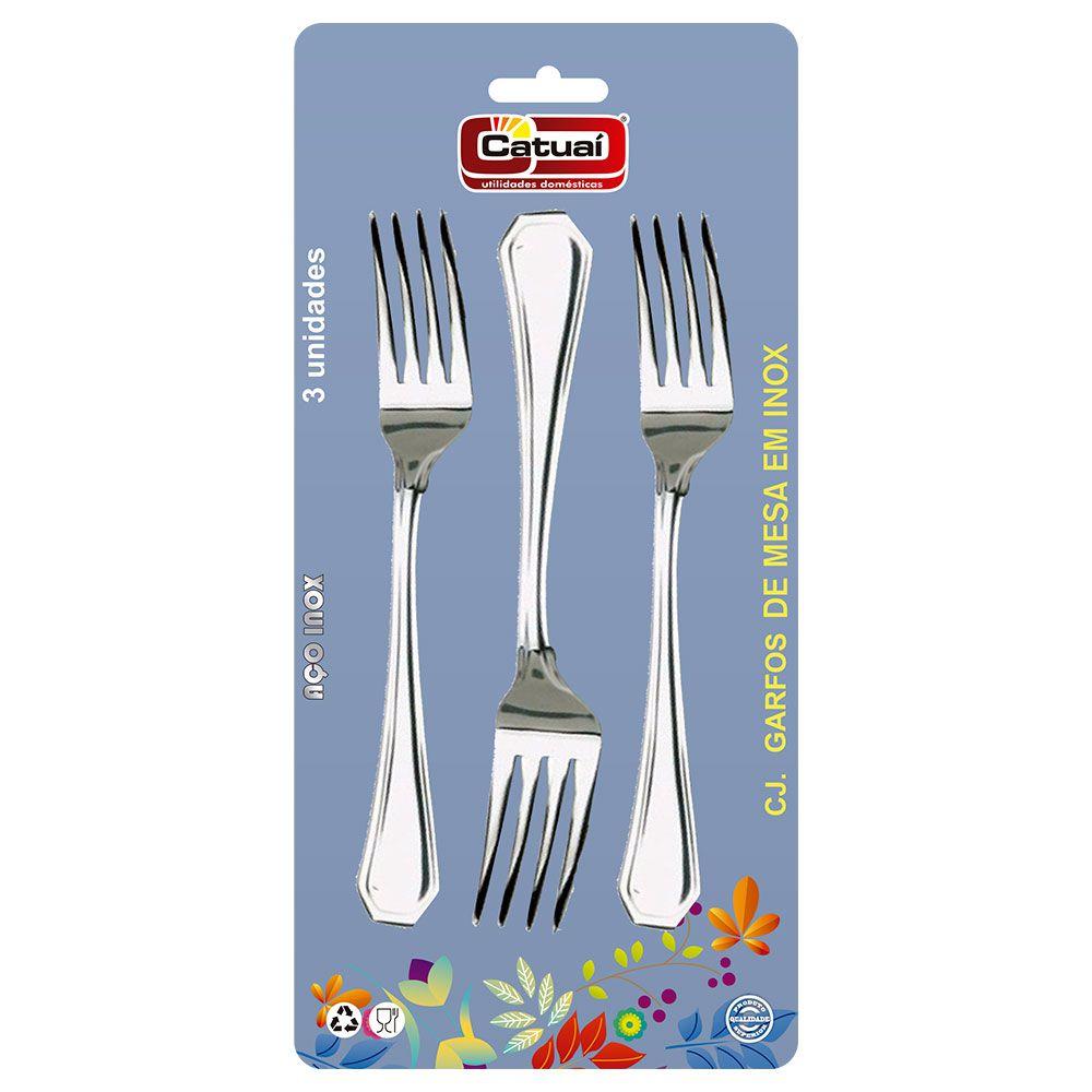Conjunto c/ 3 garfos de mesa em inox