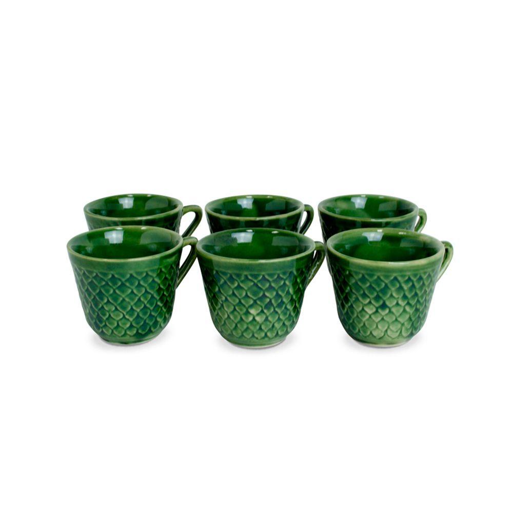 Conjunto com 6 Xícaras de Café Verde - 60ml