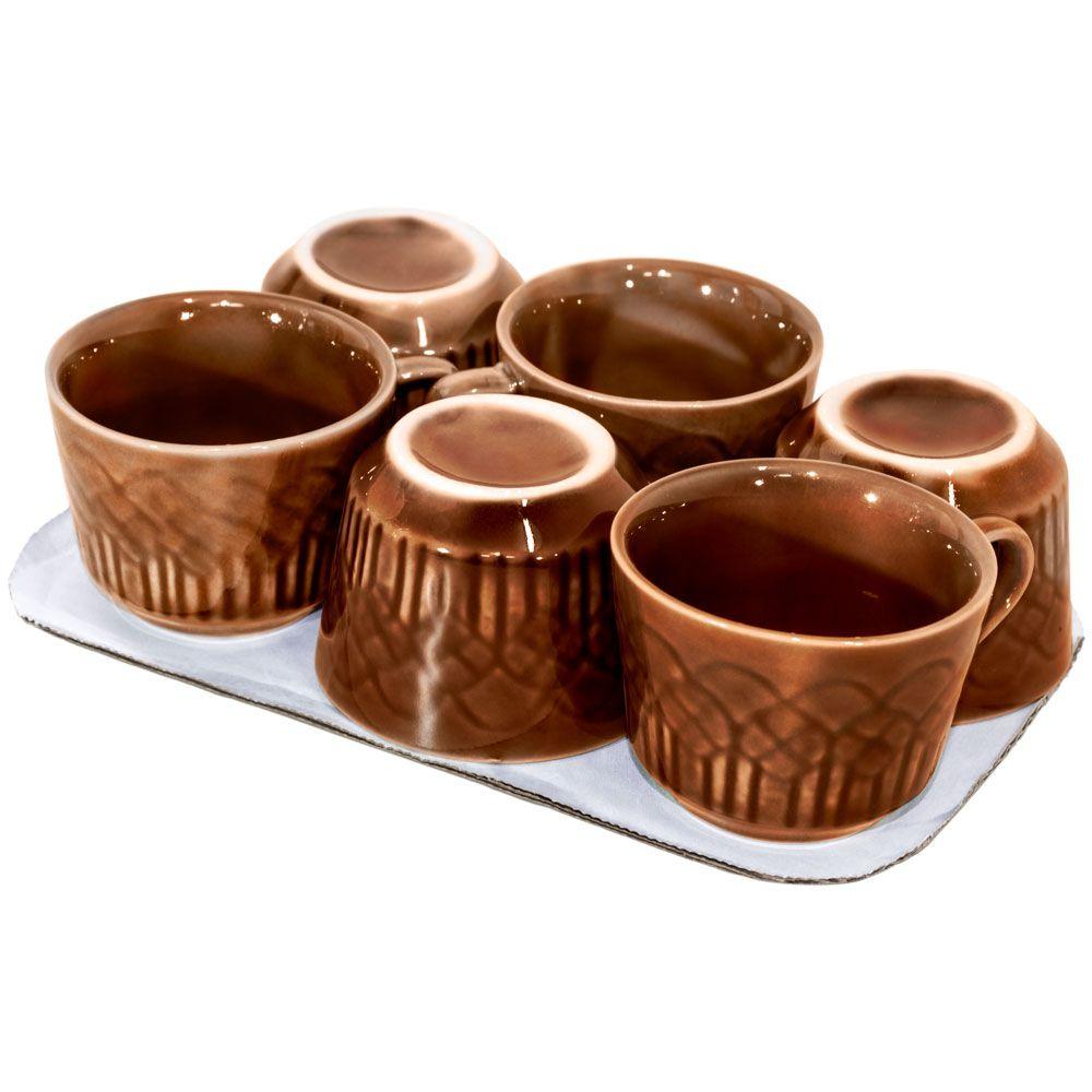 Conjunto com 6 Xícaras Café Marrom - 90ml
