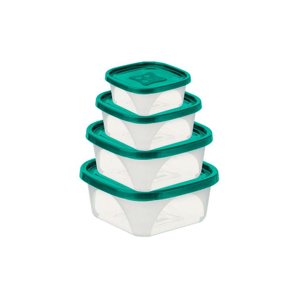 Conjunto com 4 Potes Quadrados Pmg+Mini
