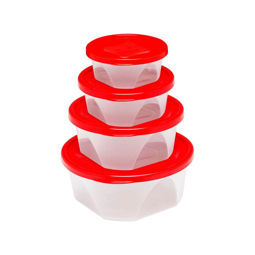 Conjunto com 4 Potes Redondos