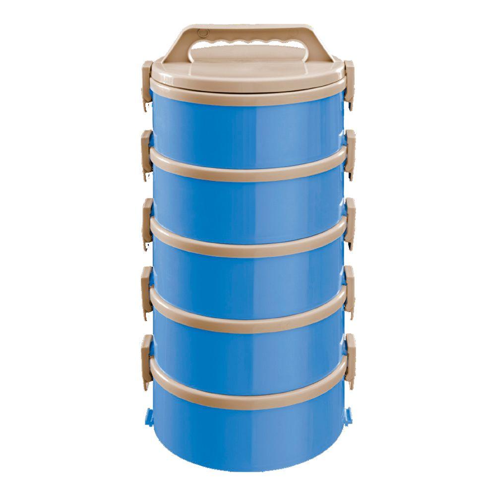 Conjunto com 5 Marmitas Térmicas Treviso Azul