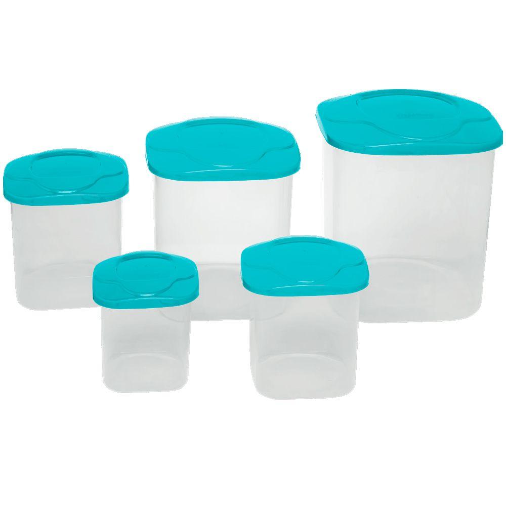 Conjunto com 5 Potes Mantimento Quadrado Medio