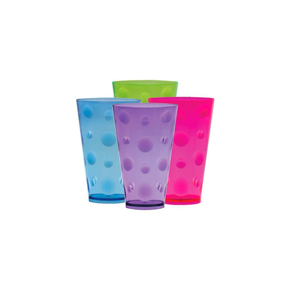 Copo Acrílico Bolhas Colors 420ml - Caixa com 12 unidades