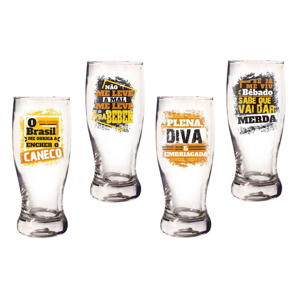 Copo Pilsen Frases Cervejas Sortidas - Caixa Presente