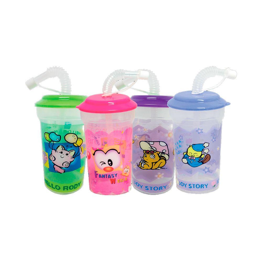 Copo Plástico Infantil com Canudo - 410ml
