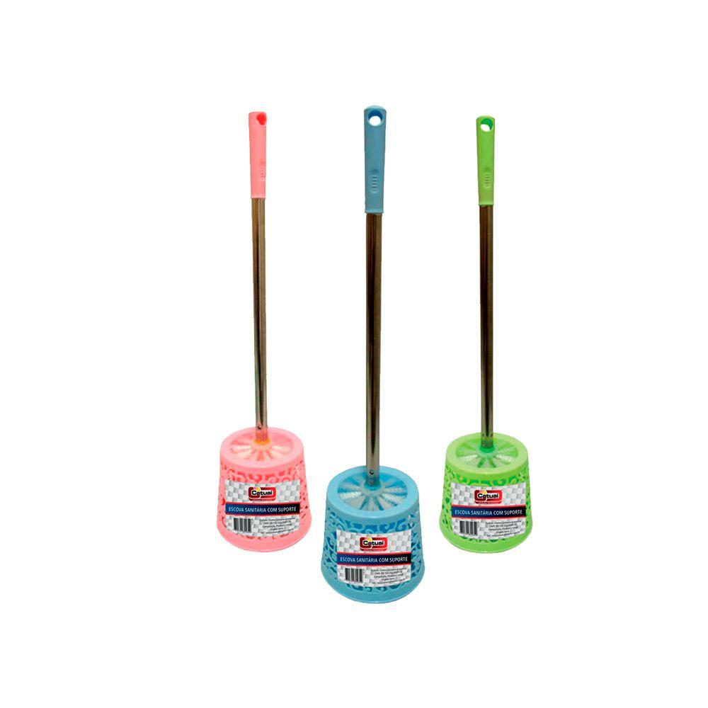 Escova Sanitária Cabo Inox /Rattan com Suporte - 51cm