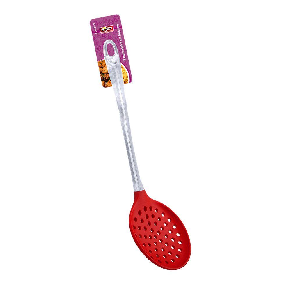 Escumadeira em Silicone Vermelha - 33cm