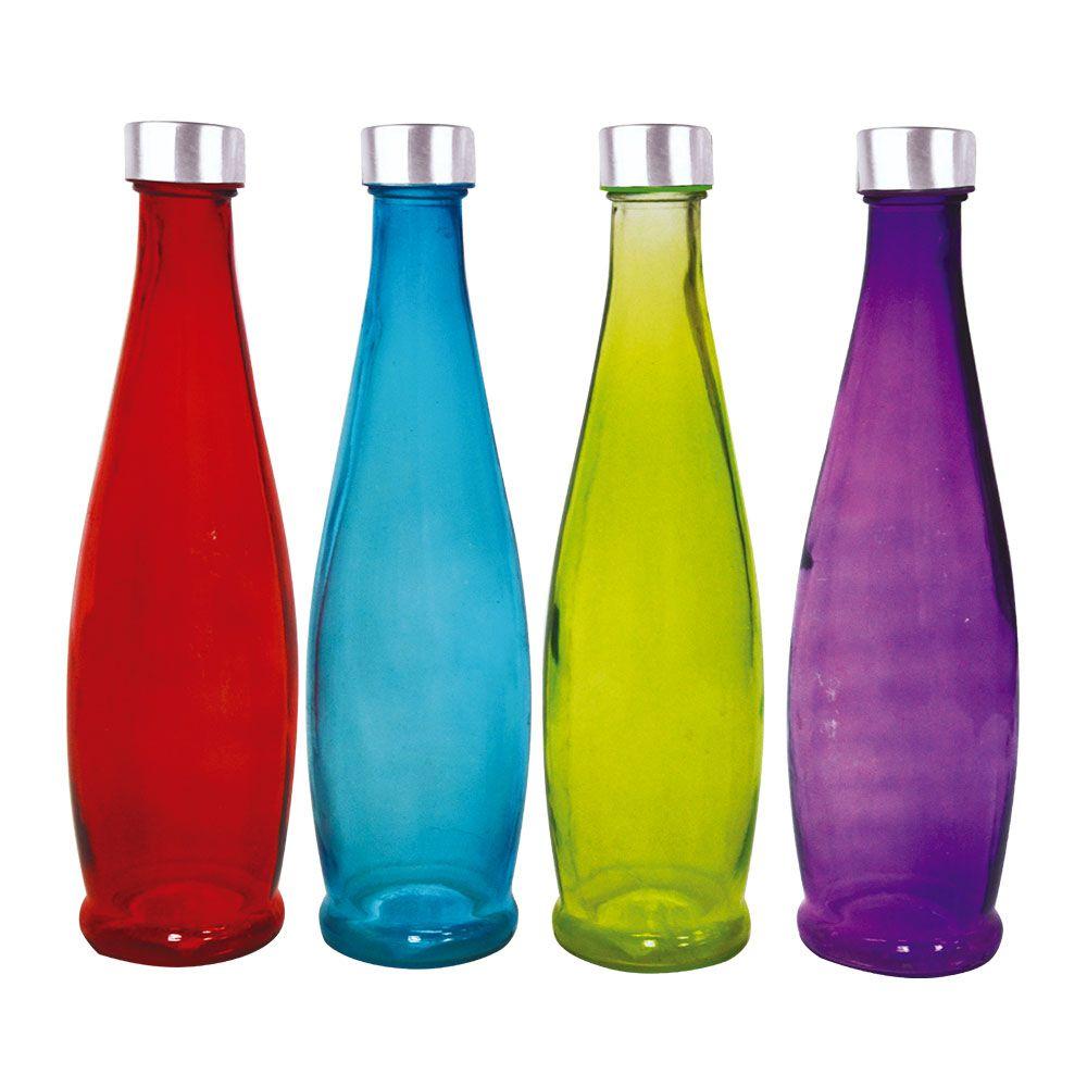 Garrafa de Vidro com Tampa Color - 1 Litro