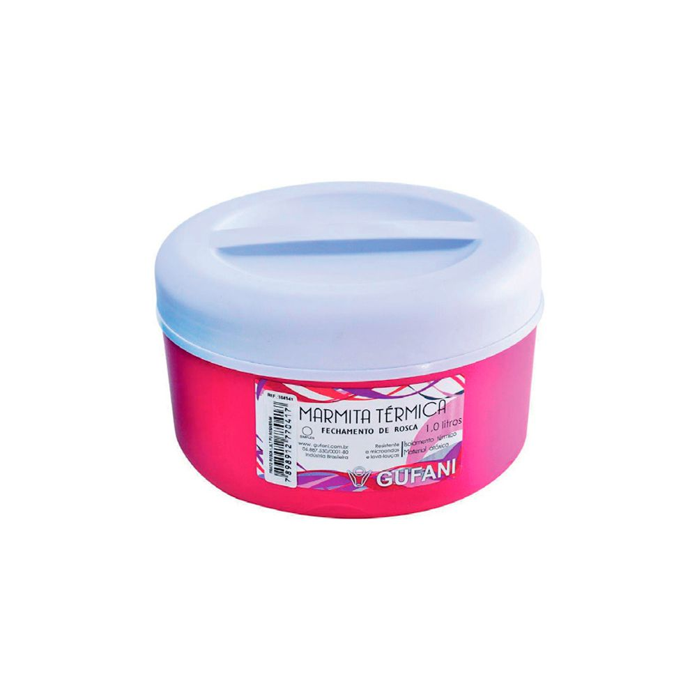 Marmita Térmica Rosa e Branca com Rosca - 1 Litro