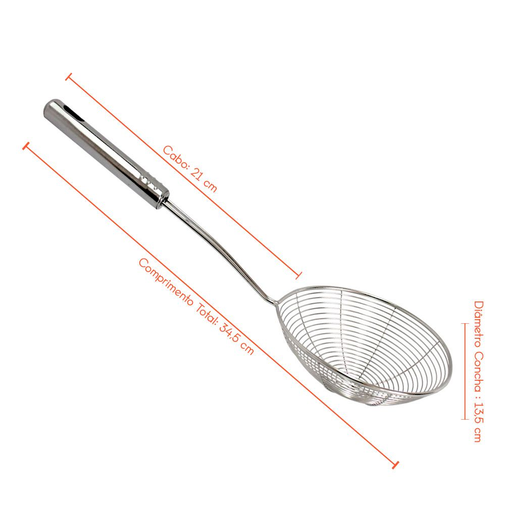 Escumadeira Peneira para Fritura - Inox - 34x14cm
