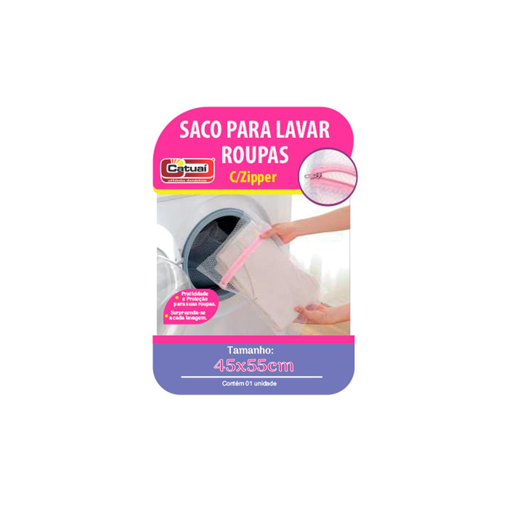 Saco para Lavar Roupa C/Ziper 45X55Cm