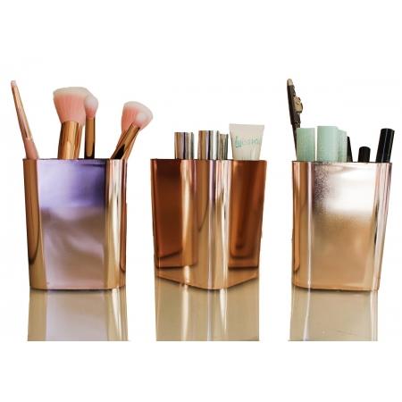 Kit 3 Porta Pinceis de maquiagem Organizador Metalizado Porta Objetos