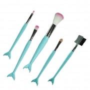 Kit Com 5 pinceis maquiagem sereia Meily's