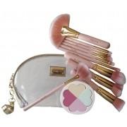 Kit de Pincel Maquiagem c/ 10 pinceis + necessaire + Esponja