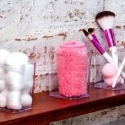 Kit Porta objetos com 3 porta Pincel maquiagem algodão cotonete