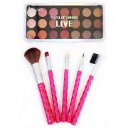 Paleta de Sombra Live + Kit de pinceis de maquiagem