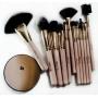 Kit com 12 pincéis de maquiagem + espelho de aumento