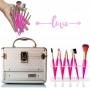 Maleta de maquiagem pequena gaveta + kit pinceis maquiagem