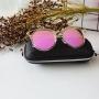 Óculos espelhado redondo rosa feminino