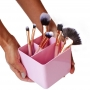 Porta Pincéis de maquiagem com 3 divisórias