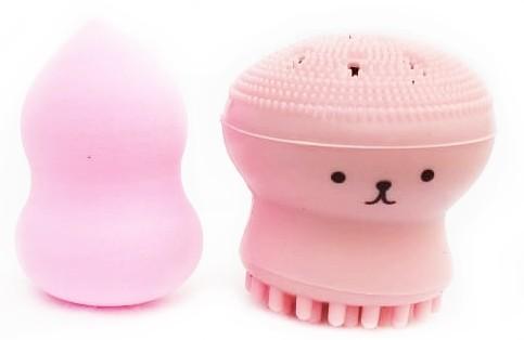 Esponja de Limpeza facial Esfoliante com esponja de maquiagem polvo