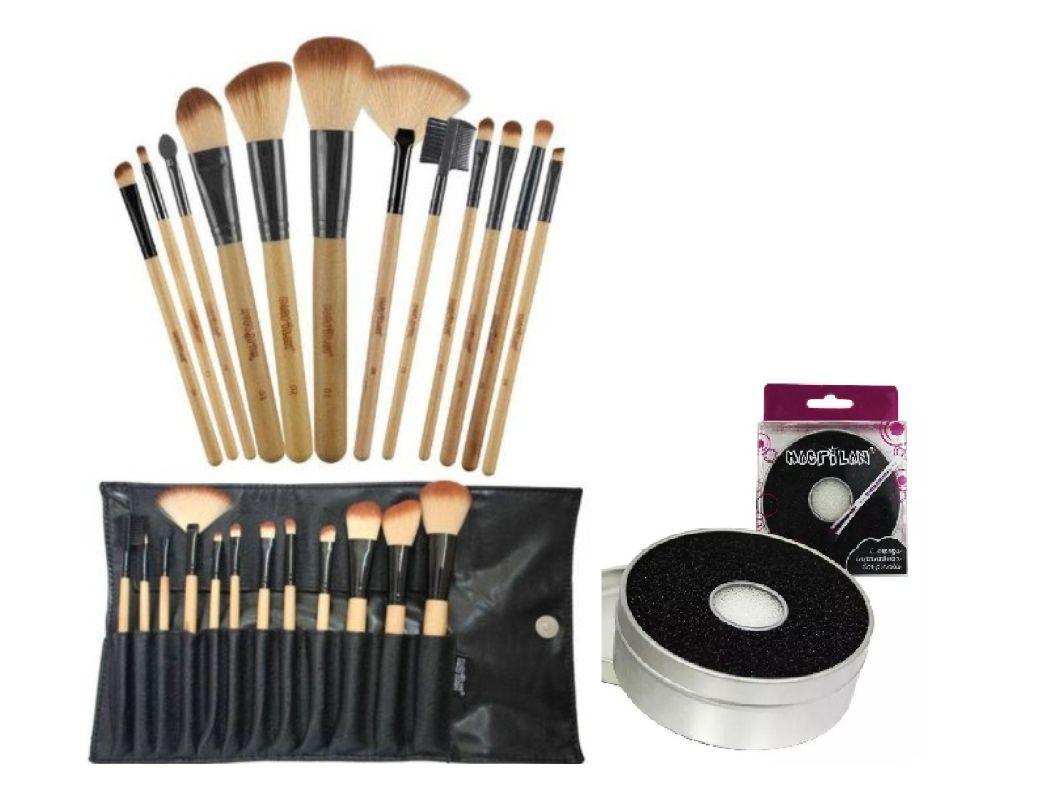 kit 12 Pinceis p/ maquiagem Kp1-2g com limpador de pinceis macrilan