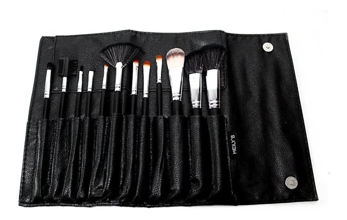 Kit com 12 Pincéis de maquiagem + Necessaire + Esponja Gota