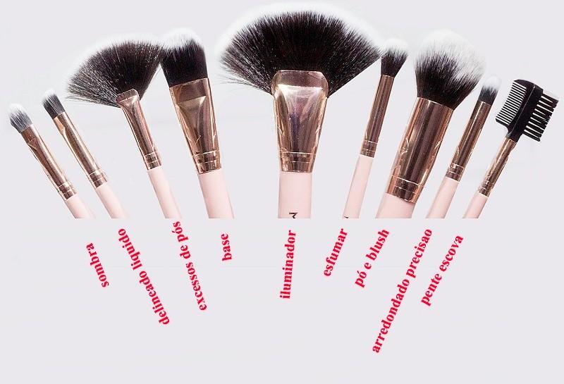 Kit com 9 pincéis de maquiagem Meily's MKP134