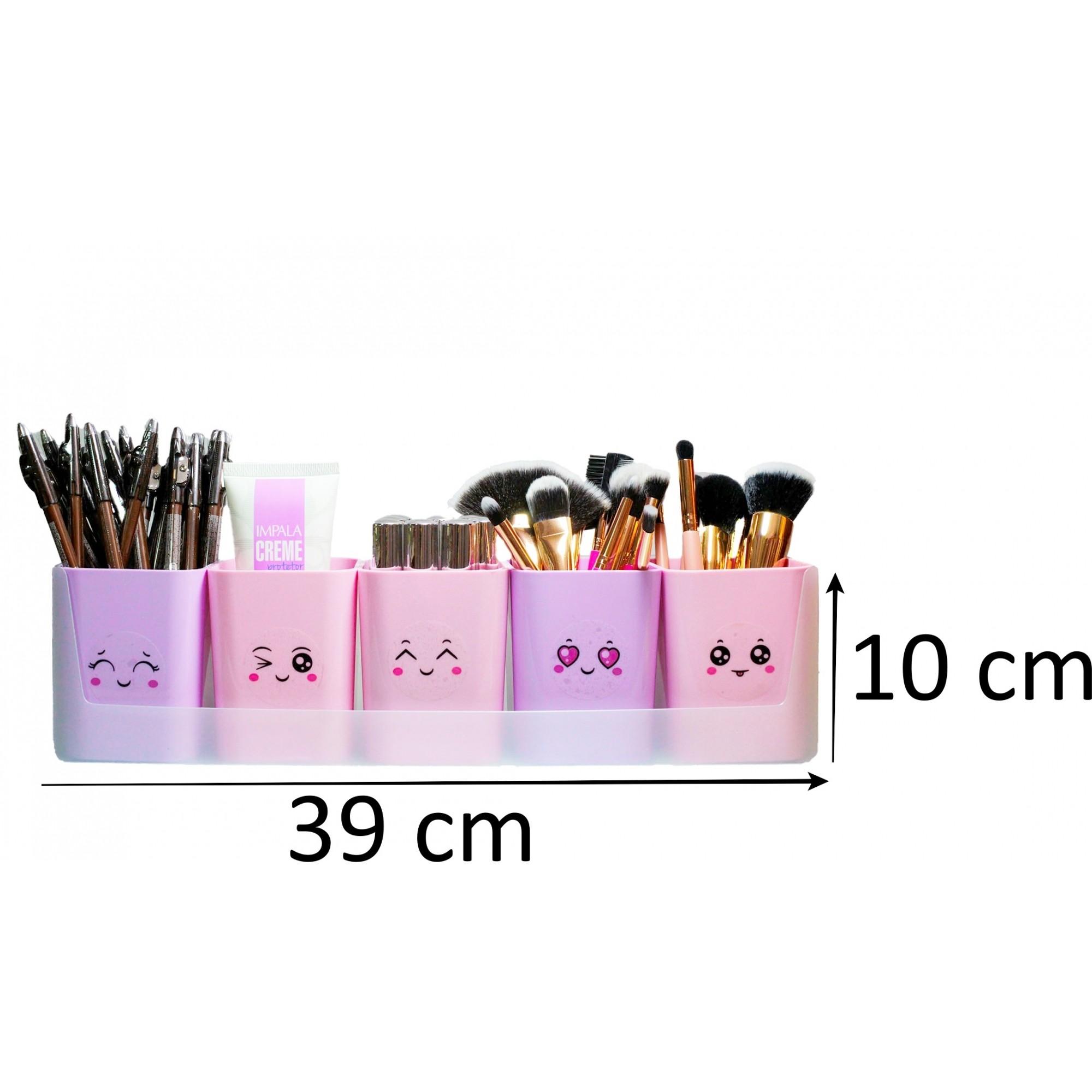 Kit doçura com 5 porta pinceis de maquiagem organizador