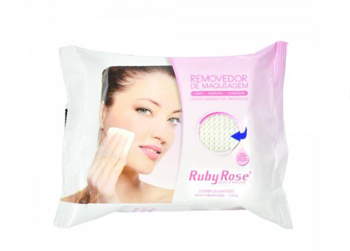 Lenço removedor de maquiagem com 25 unidades Ruby Rose