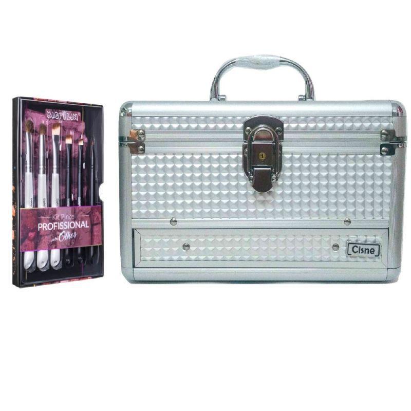 Maleta de maquiagem 140 + kit com 6 pinceis wb300 macrilan