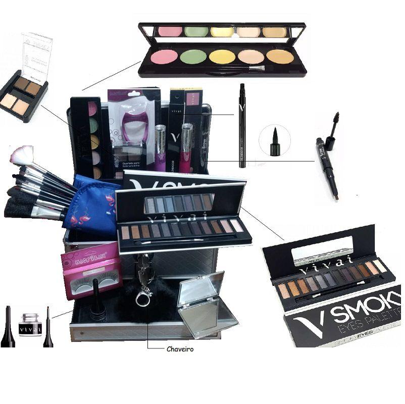 maleta para maquiagem completa kit maquiagem vivai
