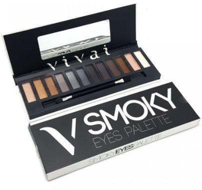 Paleta Maquiagem Estojo Com 12 Sombras Smoky Eyes Vivai
