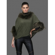 Capa Sued Pele Raccoon Cor Verde Militar - REF-BL-0203