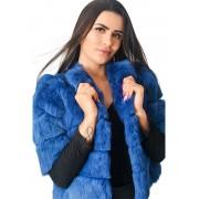 Casaqueto CCB em Pele de Coelho Navalhado cor Azul - REF-CT-0094