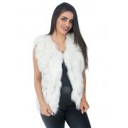 Colete em Tiras de Pele de Raccoon Cor Branco Natural Alvejado com Pontas Pretas - REF-CO-0088
