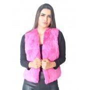Colete Pele Coelho Cor Pink - REF-CO-0040