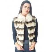 Colete Pele Coelho Importada Estampa Chinchila Gola Raccoon Branco Modelo D - REF-CO-0026