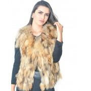 Colete Pele de Raccoon cor Natural em Tiras - REF-CO-0084
