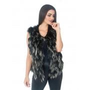 Colete Pele de Raccoon cor Preto com Pontas Brancas em Tiras - REF-CO-0089