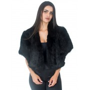 Estola em Pele de Coelho Modelo Morcego cor Preto - REF-EM-0117