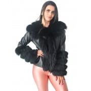 Jaqueta em Couro Pelica com Gola e Punhos em Raposa cor Preto - REF-JA-0144