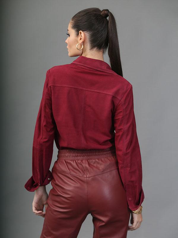 Camisa Couro Chamóis Cor Marsala -  REF-BL-0223