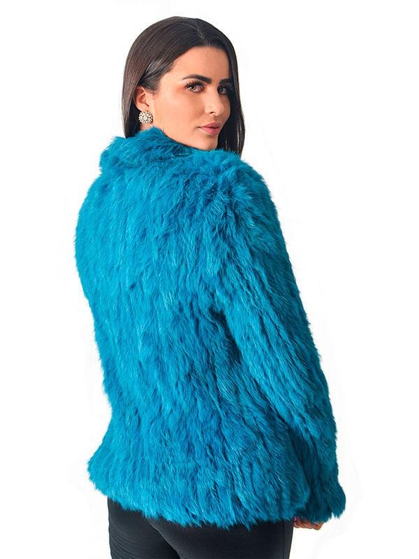 Casaco em Pele de Coelho Cor Azul em Tela Fechamento com Zípper - REF-CA-0166