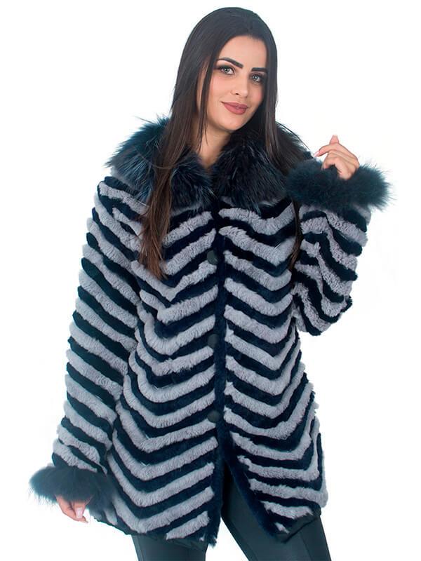 Casaco Pele Coelho Longo cor Cinza e Preto com Gola de Raccoon em Faixas Zigzag - REF-CA-0159