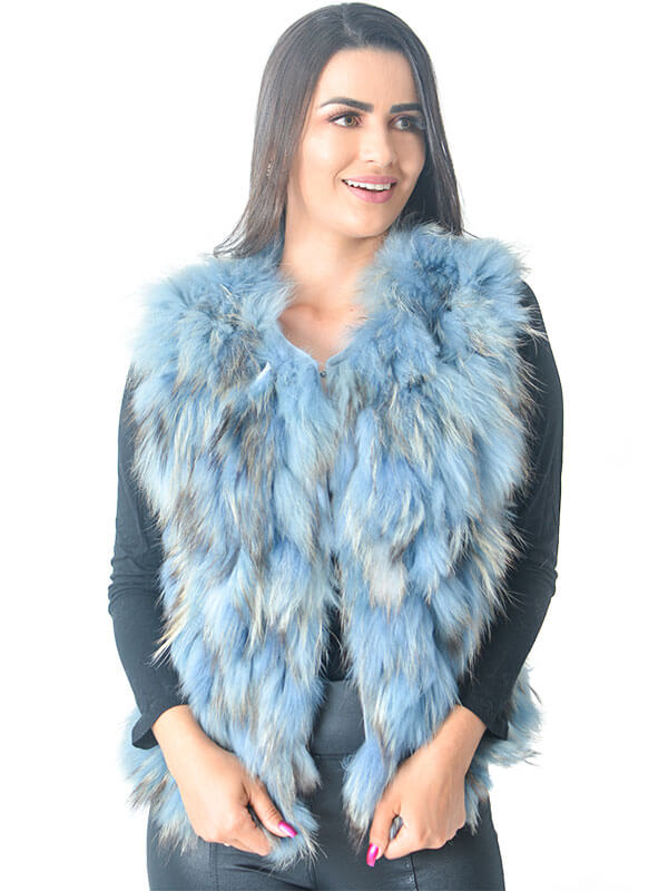 Colete em Tiras de Pele de Raccoon Cor Azul - REF-CO-0083