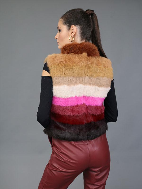 Colete Pele Coelho Multicolorido 10 Cores - Tons Marrom e Pink - REF-CO-0198