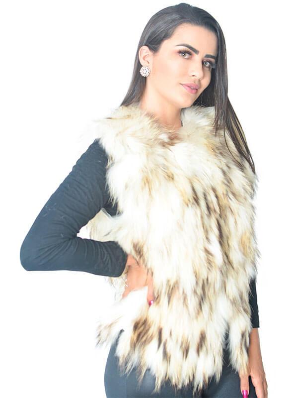 Colete Pele de Raccoon cor Off-White em Tiras - REF-CO-0082